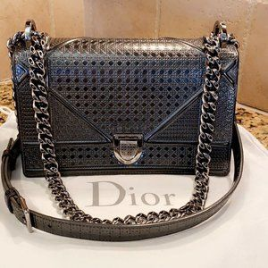 Christian Dior Medium Diorama Metallic Onyx